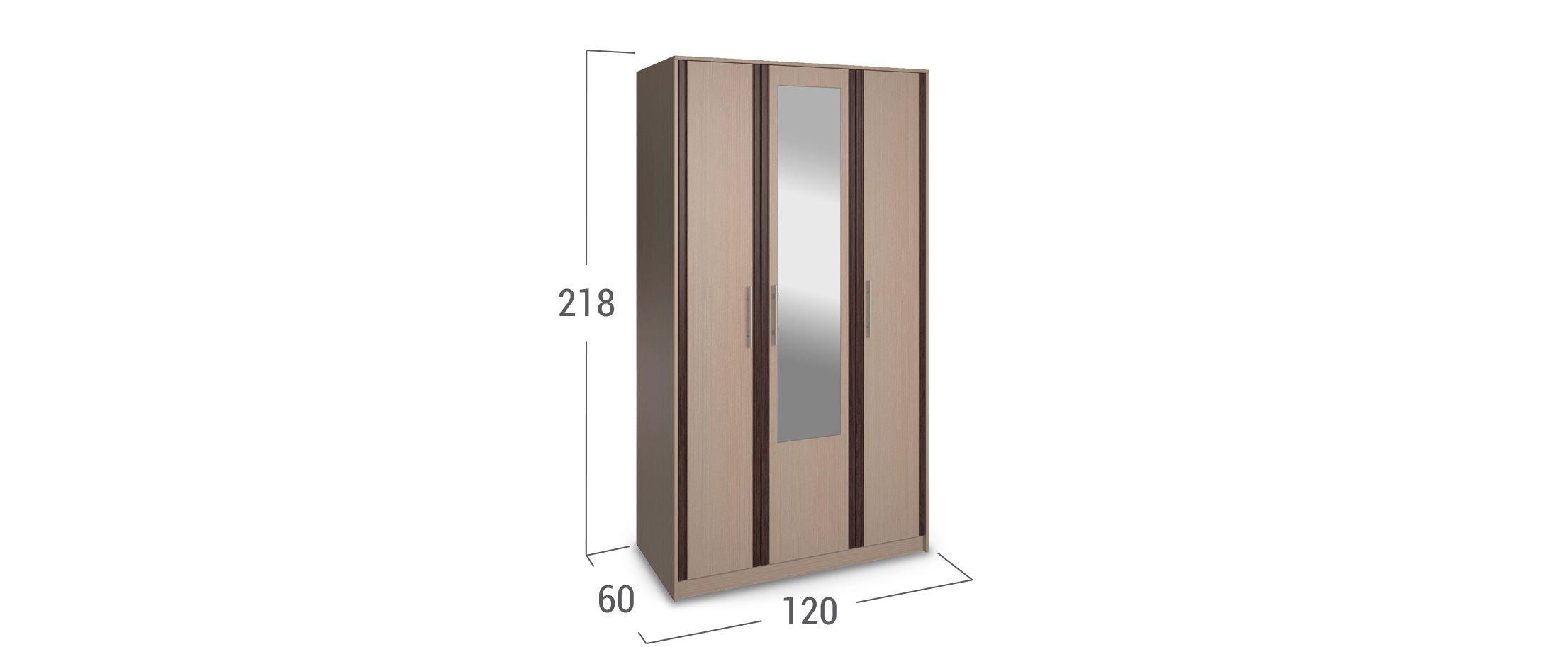 Шкаф 3-дверный с зеркалом Новелла